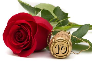 Rose mit Champagnerkorken jubiläum 10 Jahre