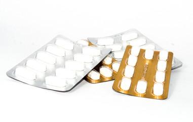 Medicine pills on white background