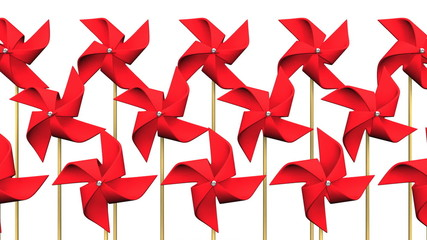 Loopable Red Pinwheels On White Background