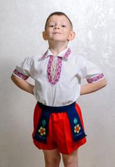 Ukrainian boy proud to wear traditional costume
