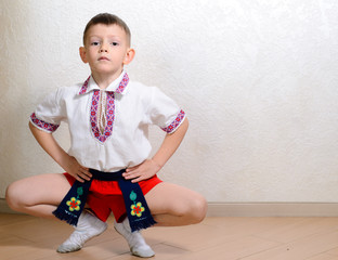 Ukrainian boy during an artistic performance