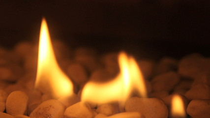 Closeup of fire flames in a chimney