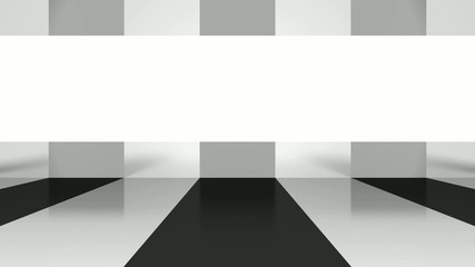 animated, abstract space with empty surface