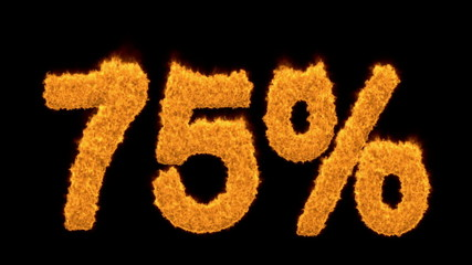 75 or seventy-five percent written with fire fonts