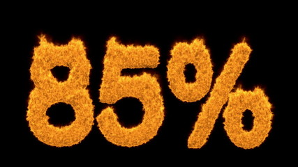 85 or eighty-five percent written with fire fonts
