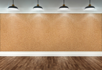 3d cork room with ceiling lamps