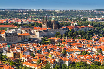 Presidential palace,St. Vitus cathedral in city Prague .