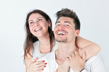 Loving couple white smile