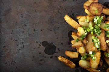 Fresh homemade fried potato wedges