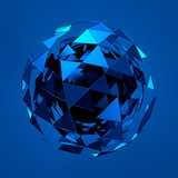 Fototapety Abstract 3d rendering of low poly blue sphere with chaotic