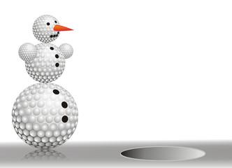 snowman made from golf balls
