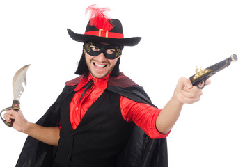 Young man in carnival coat with gun isolated on white