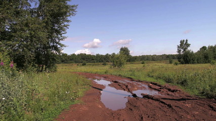 Russian rural landscape with empty countryside dirt wet road