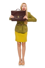Young woman in vivid jacket and with briefcase isolated on white