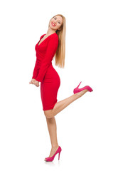 Pretty blond lady in red dress isolated on white