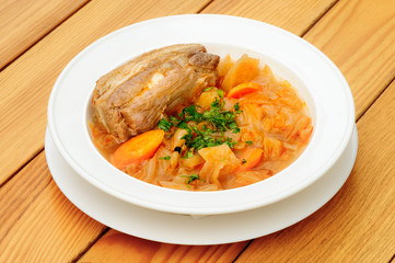Stewed cabbage with pork meat