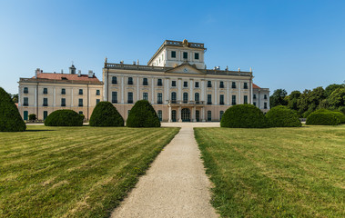 The Esterhazy Castle back side with park in Fertod Hungary.