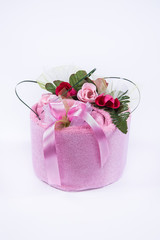 Home made towel cake gift as a beautiful decoration.