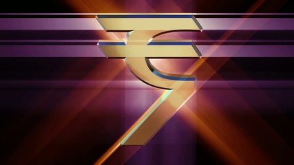 golden symbol of the Indian rupee