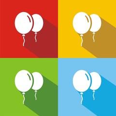 Iconos globos colores sombra