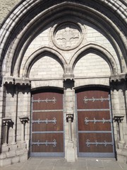 church front door in bruges, belgium