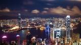Timelapse of Hong Kong skyline at night, China (4K, UHD)