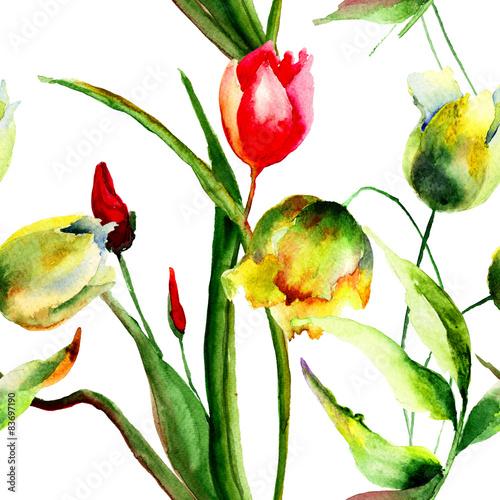 Fototapeta Seamless wallpaper with Tulips flowers