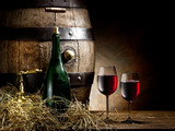 Fototapeta Still-life with glass of wine, bottle and barrel.