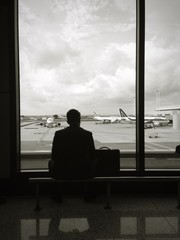 lonely traveler at airport