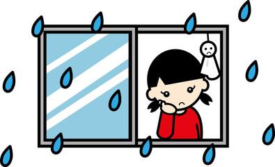 窓辺で雨のやむのを待つ女の子