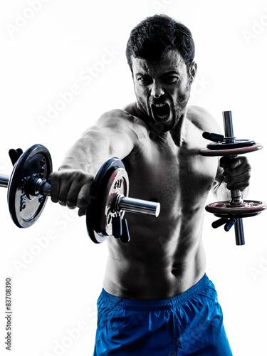 Fototapeta man exercising fitness weights exercises silhouette
