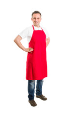Supermarket employee or butcher with red apron