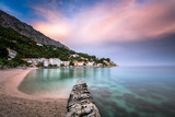 Beautiful Adriatic Beach and Mimice Village on Omis Riviera in D poster