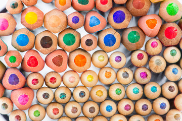 Set of colorful pencils close up