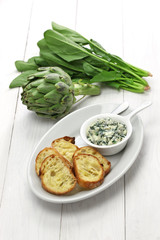 artichoke spinach dip, healthy vegetarian food