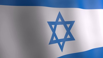 3d animation of Israel national flag.