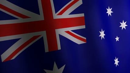 3d animation of Australia national flag.