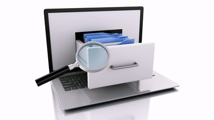 Data storage. Laptop and files. 3d animation