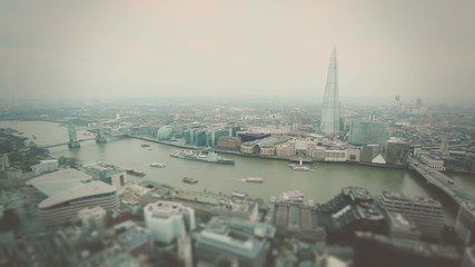 Aerial View of London with Tower Bridge and Thames river
