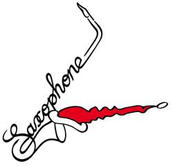 Saxophon als Logotype mit Weihnachtsmütze