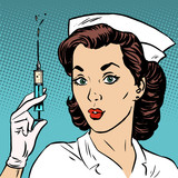 Retro nurse gives an injection syringe medicine health