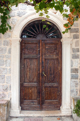 Old brown front door