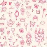 Hand drawn vector seamless princess pattern.