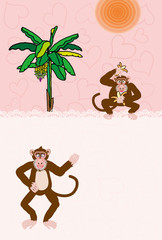 猿とバナナの木の可愛いピンクのグリーティングカード