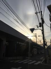 朝焼けの見える鉄道