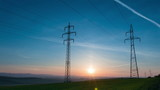 Power Line and Sunrise. Time Lapse UHD