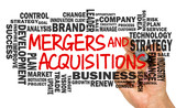 mergers and acquisitions with business word cloud handwritten on poster