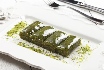 turkish desert with pistachio
