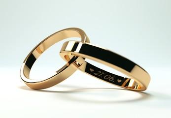 goldene Ringe mit 21 Juni Gravur