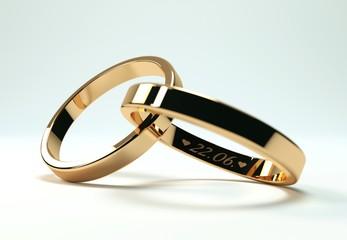 goldene Ringe mit 22 Juni Gravur